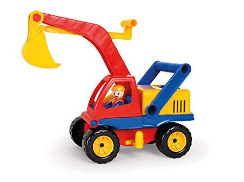 Lena 04151 - Aktiv Bagger, ca. 35cm, mit beweglicher Lena Spielfigur, Baustellen Spielfahrzeug für Kinder ab 2 Jahre, robuster Schaufelbagger mit funktionstüchtigen Baggeram und Haltegriff