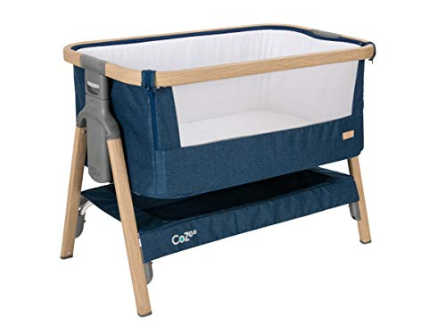 Tutti Bambini CoZee Bedside Crib/Co-Sleeper with Breathable Mesh Window, Travel Bag and Easy Fold (Oak and Midnight Blue)