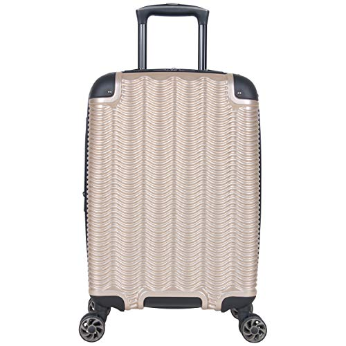 Kenneth Cole Reaction Wave Rush 20' Lightweight Hardside 8-Wheel Spinner Expandable Carry-On Suitcase, Champagne, Inch