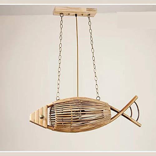 JKCKHA Chino Retro de bambú Pescado araña Tejida Restaurante Jardín Dormitorio de la lámpara de la lámpara lámpara de bambú Sudeste 75x23cm Crafts
