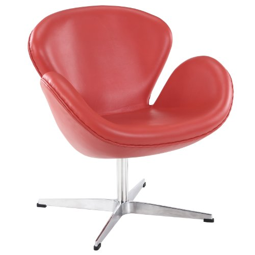 Hot Sale LexMod Arne Jacobsen Swan Chair in Red Aniline Leather