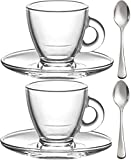 Espresso Cups, 3.2-Ounce. Small Demitasse Clear Glass Espresso Drinkware, Set Of 2 Cups, Saucers and Stainless Steel mini Spoons, Hostess, Coffee Lover/Enthusiast,