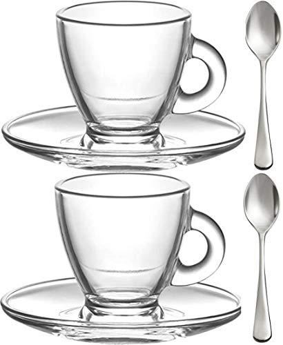 Vasos de expreso, de 3.5 onzas, pequeño Demitasse de vidrio transparente, juego de 2 tazas, platillos y mini cucharas de acero inoxidable, azafata, amante del café/entusiasta