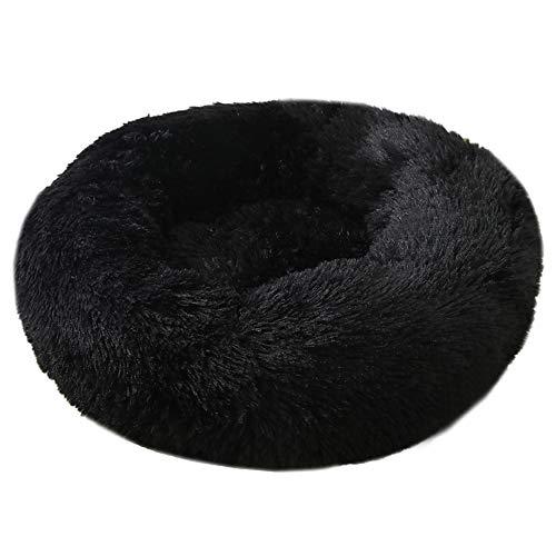 Decdeal Haustierbett für Katzen und Hunde Rundes Plüsch Hundebett Katzenbett in Doughnut-Form Farbe und Größe Optional (Durchmesser 70cm, schwarz)