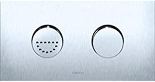 Caroma 237011S Invisi Rectangle Dual Flush Plate with Round Raised Buttons, Satin