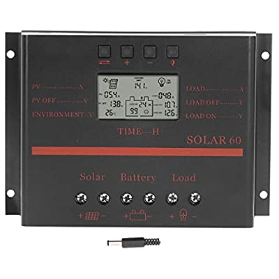 Walfront Controller Battery Pack PWM 60A Controller Solar Panel Regulator Controller DC12V/24V