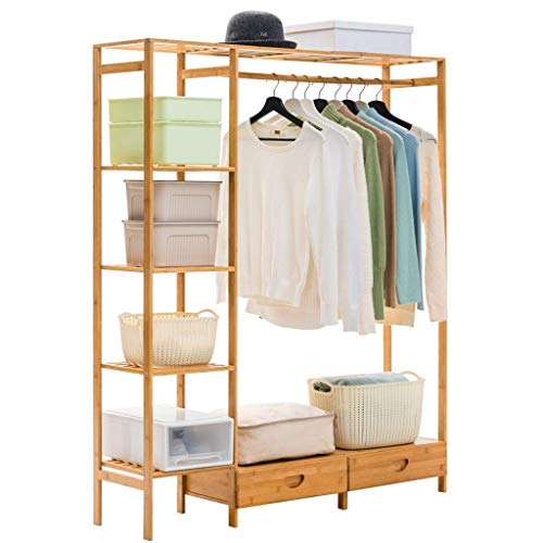 FKDEYICOAT Bamboo Coat Pant Clothing Rack Free Standing 4 Tier Garment Storage Shelf with 2 Drawer,Clothing rail,Pant Rack. (Color : Light Brown)
