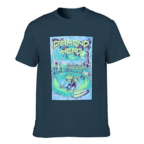 Herren Schädel Diamant Herd T-Shirt Baumwolle Kurzarmhemd - Schrecklichen Lässig Navy 5XL
