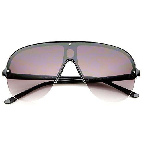 Oversize Flat Top Semi-Rimless Frame Shield Aviator Sunglasses 70mm (Black/Lavender)