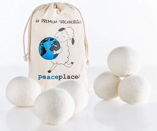 peaceplace Trocknerbälle 6x | Trocknerkugeln aus Schafswolle | Der natürliche Weichspüler für Daunen Jacken und Kissen für Wäschetrockner | XXL Filzbälle Wollebälle | Die umweltschonende Alternative