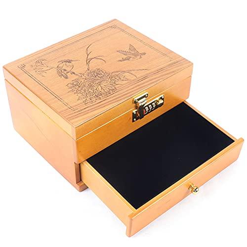 2 Schichten Holzfarbe Holz Schmuck Aufbewahrungsbox, Mit Spiegel Und Schloss, Schmuckschatulle Schmuckschrank Schmuckkasten Für Ring, Halskette Und Uhren