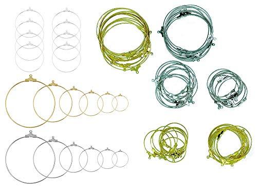 Job lot 90 piezas de plata chapada en oro platino, ganchos para pendientes circulares colgantes de alambre para joyería para manualidades