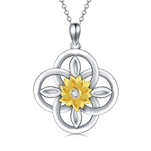WINNICACA 925 Sterling Silver Sunflower Necklace Celtic Knot Pendant Jewelry Blessings for Women Daughter Wife Birthday Anniversary