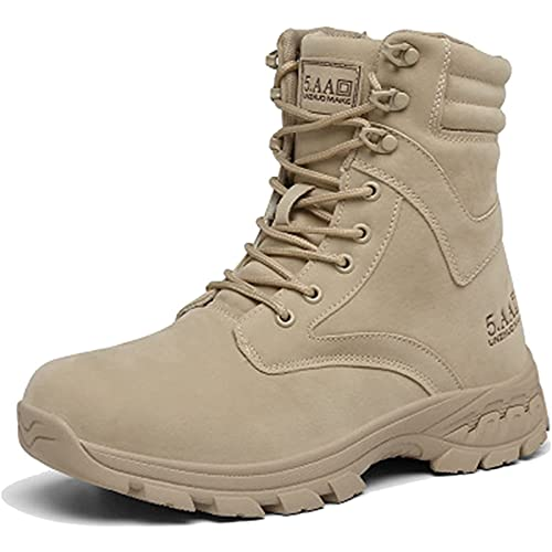 Men's Combat Boots Mid High-top Lace-Up Waterproof Tactical Boots Breathable Military Army Durable Work Safety Shoes Outdoor Climbing Sneaker