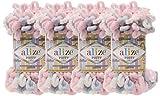 Alize Puffy Color Baby Blanket Yarn Lot of 4skn 400gr 39.3 yds 100% Micropolyester Soft Yarn Hand Knitting Yarn (5864)
