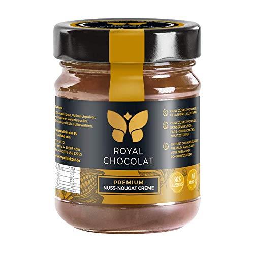 Royal Chocolat Nuss-Nougat-Creme | 50% Haselnüsse | Premium Brotaufstrich | Gelatinfrei | Glutenfrei | ohne Zusatz von Ölen