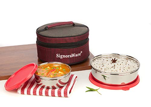 SignoraWare Classic Stainless Steel Lunch Box, 2-Pieces, Red