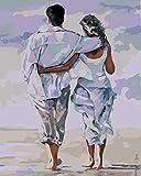 Pintura Por Número Pareja De Playa Blanca Pintar Por Números Para Niños Adultos Kit De Pintura Al Óleo Diy Principiante Pintura Al Oleo Regalos 40x50cm