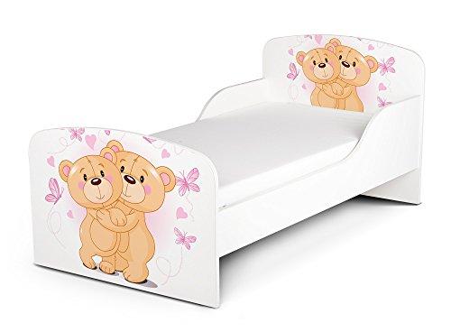 Leomark Letto per bambini in legno, lettino con materasso, magnifiche stampe, spazio per dormire 140x70 cm, mobili per bambini, rete a doghe, atrezzatura stanza per bambino, motivo: ORSACCHIOTTI