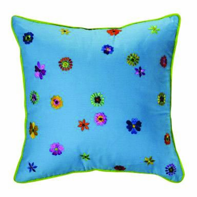 Bacati Valley of Flowers Turquosie Embroidery Pillow