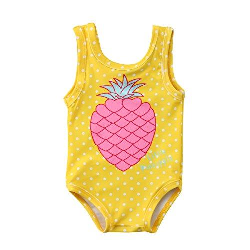 Bañador de Una Pieza para Niña Pequeña Traje de Baño de Lunares Ropa de Baño con Estampadode Piña Bikini para Bebé Recién Nacida de 6 Meses a 4 Años para Playa Piscina (Amarillo, 12 Meses)