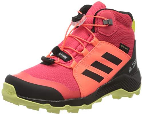 adidas Terrex Mid GTX K, Zapatillas para Carreras de montaña, Shock Red Core Black Yellow Tint, 34 EU