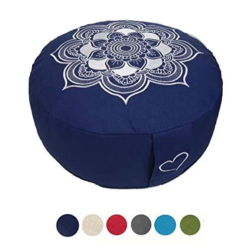 Meditationskissen Yogakissen Celine Madeleine mit Stickerei Bezug waschbar, gefülltes Innenkissen mit Bio-Dinkelspelzen 33 x 15 cm geeignet für Anfänger und Geübte (dunkelblau (Kordelzug))