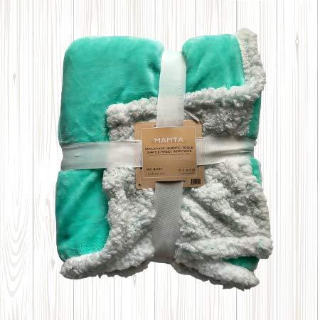 Manta de Coralina Color Liso130x160 cm para Sofá, Microseda, Borreguito, Suave, Extra Confort (Turquesa)