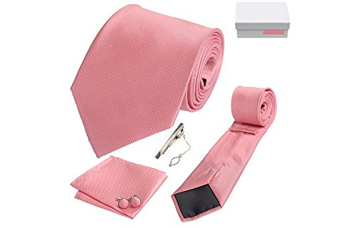 Coffret Melbourne - Cravate rose, boutons de manchette, pince à cravate, pochette de costume