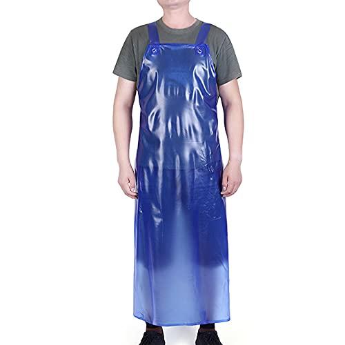 MJAHQ delantal oxford para adultos delantal impermeable de goma delantal de cuero suave unisex la cocina productos acuáticos industriales ropa de trabajo de limpieza de pescado-azul_Los 75x100cm