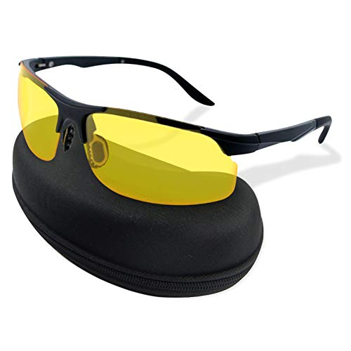 Night Vision Glasses for Driving, HD Day Night Driving Yellow Tinted Sunglasses, UV400 Anti Glare Polarized Lenses Fit Over Prescription Glasses for Men Women, Ultra Light Aluminum Frame with Case