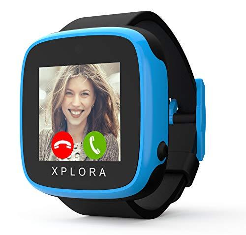 XPLORA GO - Telefon Uhr für Kinder (SIM-frei) - Anrufe, Nachrichten, Schulmodus, SOS-Funktion, GPS-Standort, Kamera und Schrittzähler - 2 Jahr Garantie (SCHWARZ & BLAU)