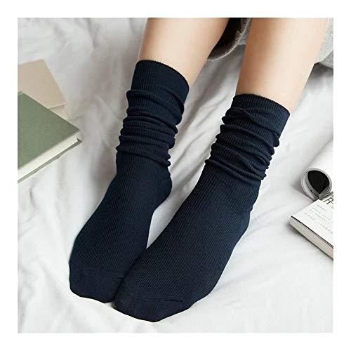Calcetines de algodón con estampado de frutas y frutas, calcetines largos y coloridos para mujer, calcetines multicolor (color azul marino, tamaño: US 5-9.5)