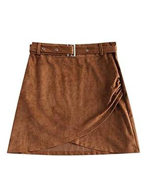 ZAFUL Women's Junior High Waist Faux Suede Button Plaid Zipper Closure A-Line Mini Short Skirt