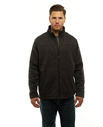 TrailCrest Mens Unique Speckled Zip Up Sweater Fleece-Heather Knit-Winter/Fall Classic Collection Charcoal Heather XXX-Large