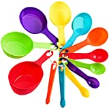 12 Piece Measuring Cups and Spoons Set, Plastic Measuring Cups Measuring Spoons Stackable for Measuring Dry and Liquid Ingredients Great for Baking and Cooking (Random Color) (12 Piece)