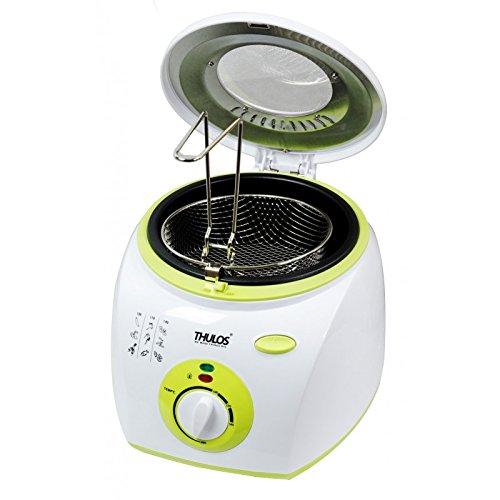 Thulos Freidora eléctrica con Capacidad para 2 litros de Aceite, Cuenta con 1300W de Potencia, termostato, Tapa con Ventana para controlar el Proceso de fritura TH-FR20.