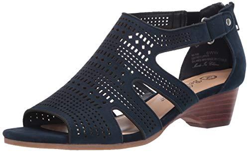 Bella Vita womens Fashion Casual Heeled Sandal, Navy Suede Leather, 7 US