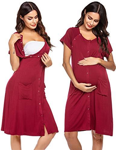 Ekouaer 3 in 1 Maternity Dress Nursing Nightgown for Breastfeeding Nightshirt with Button
