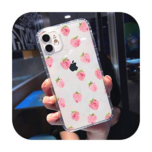 Rosa rojo fresa dibujos animados fruta arte teléfono caso transparente para iPhone 11 12 mini pro XS MAX 8 7 6 6S Plus X 5S SE 2020 XR-a7-iPhone6 o 6s
