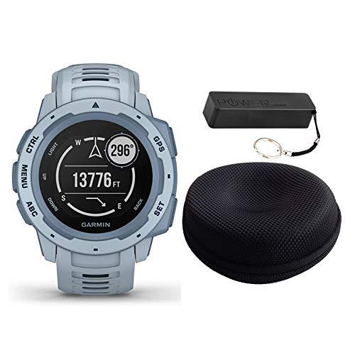 Garmin Instinct Rugged Outdoor Watch Bundle Flame Red - Includes Power Bank | Watch Case
