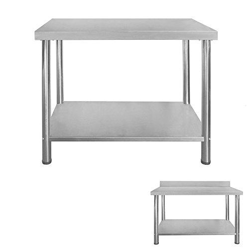 Gastro Edelstahltisch Edelstahl Arbeitstisch Küchentisch Höhenverstellbar mit/ohne Aufkantung Größenwahl V2Aox,...
