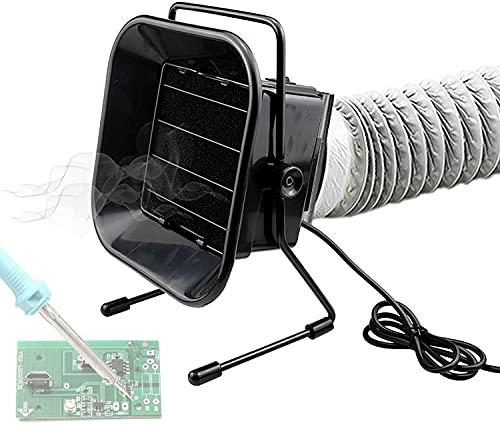 Qjkmgd Extractor de humos de soldadura, absorción de humo de soldadura 50W, ventilador de escape de soldadura, filtración de purificación profunda, ángulo de ventilador ajustable, bajo ruido para sold