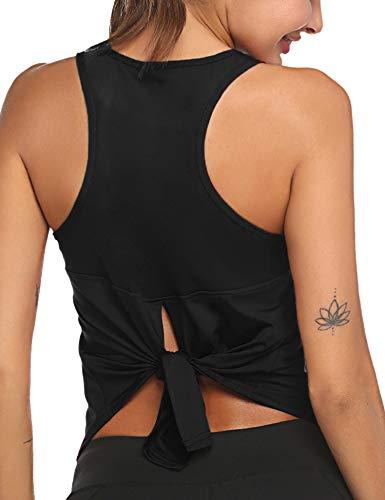 Ekouaer Active Athletic Top - Camiseta deportiva para mujer Negro L