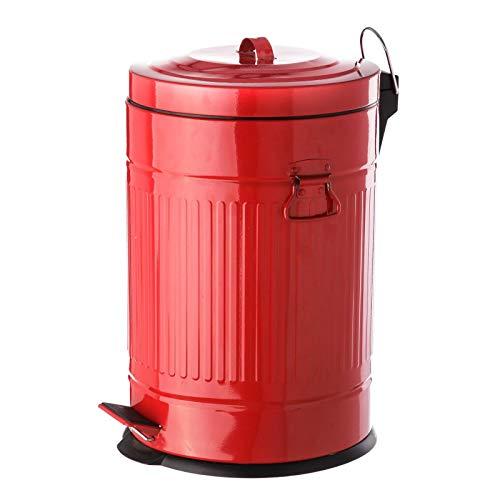 Papelera de 20 litros industrial roja de acero para cocina Iris - LOLAhome