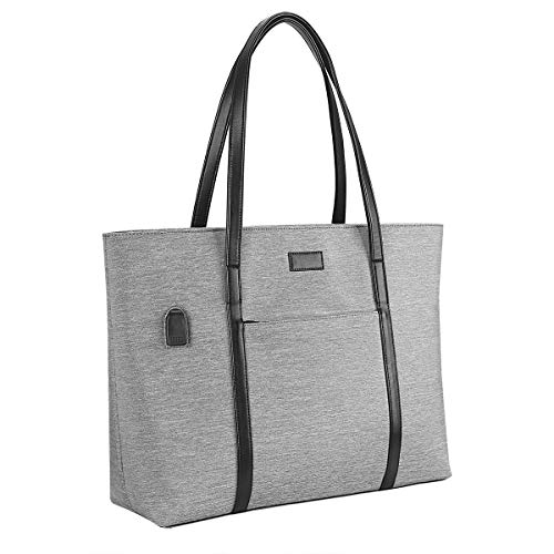 Laptop Tote Purse Large, Business Women Work Bag Professional Computer Purse Teacher Tote Bag with Zipper and Pockets Fits 15.6 Inch Laptop