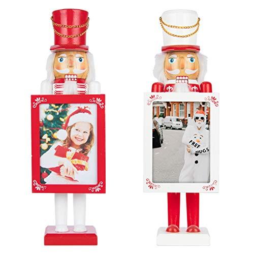 Busy Bee Set von 2 roten und weißen Nussknacker König und Soldat Figur Display Set für Weihnachtsdekorationen