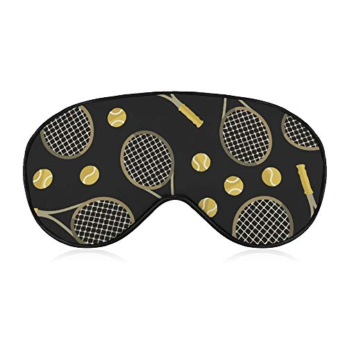 Comfort And Lightweight Eye Mask Eye Cover for Kids Teens Girls Women, 100% Silk Sleeping Mask Best Sleeping Eye Mask Cover With Adjustable Strap (Funny Colourful Tennis Racquets And Tennis Balls)