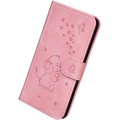 Herbests Kompatibel mit Huawei Honor 9 Lite Hülle Leder Handyhülle 3D Herz Schmetterling Elefant Muster Lederhülle Flip Cover Case Klappbar Bookstyle Brieftasche Ledertasche Schutzhülle,Rosa