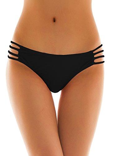 SHEKINI Damen Klassisch Niedrige Taille Tanga Badehose Bademode Thong Brasilianer Bikinihose Chic Bikini Slips Cutout Bikinihöschen (Medium, Schwarz)